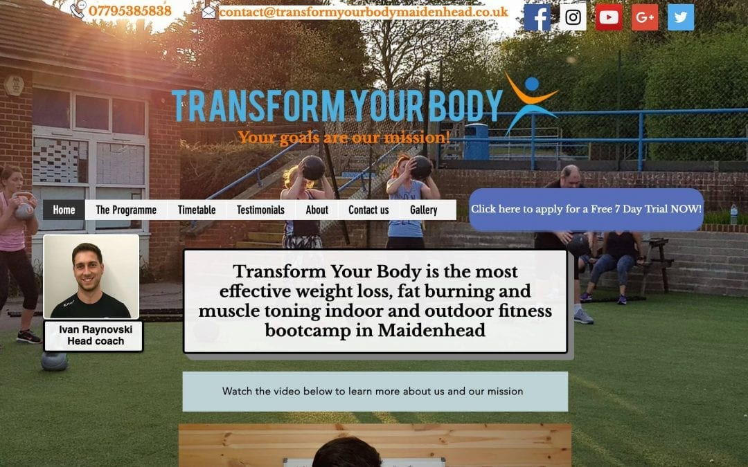 Website Review for: www.transformyourbodymaidenhead.co.uk